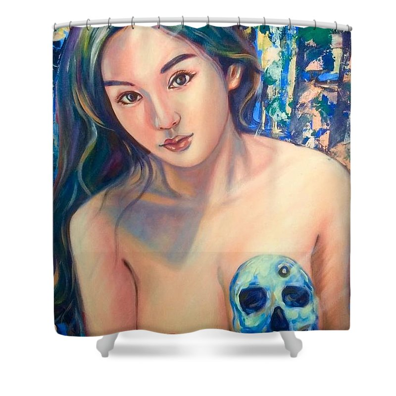 Shower Curtain featuring the painting Beautiful And Dangerous by Niti Is a painter