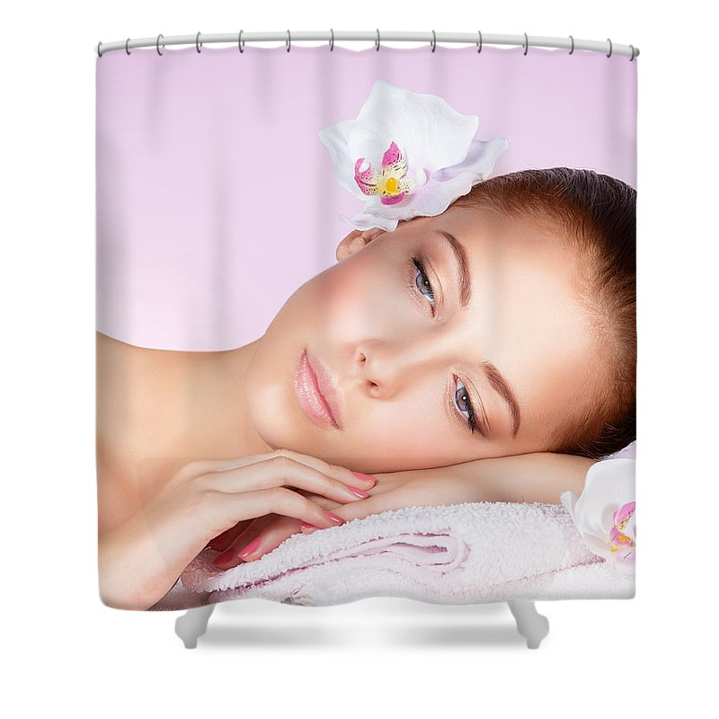 Beautiful Shower Curtain featuring the photograph Beautiful Woman Face by Anna Om