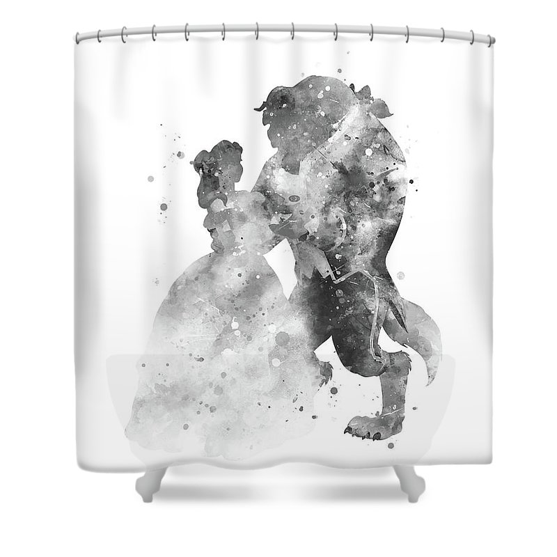 Beauty And Beast Shower Curtain Featuring The Mixed Media By Monn Print