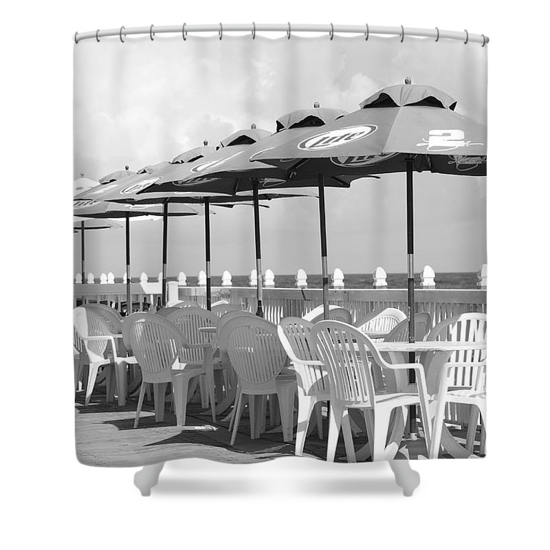 Black And White Shower Curtain featuring the photograph Beer Unbrellas by Rob Hans