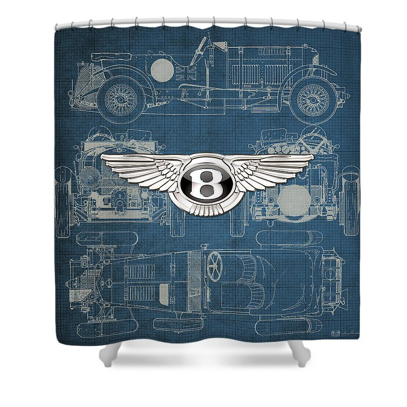 �wheels Of Fortune� By Serge Averbukh Shower Curtain featuring the photograph Bentley - 3 D Badge over 1930 Bentley 4.5 Liter Blower Vintage Blueprint by Serge Averbukh