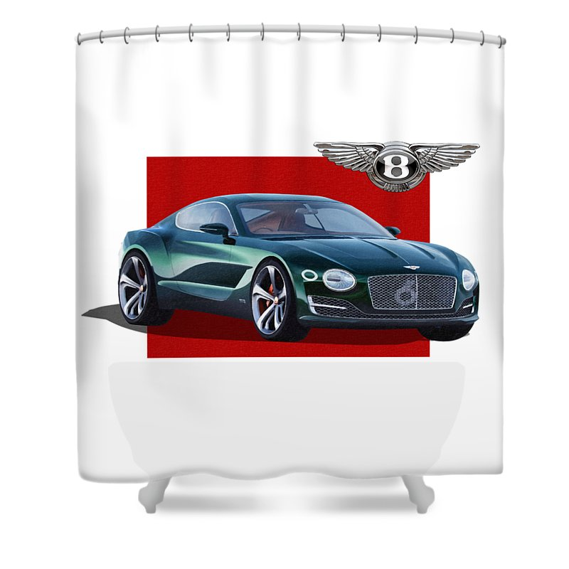 �bentley� Collection By Serge Averbukh Shower Curtain featuring the photograph Bentley E X P 10 Speed 6 With 3 D Badge by Serge Averbukh