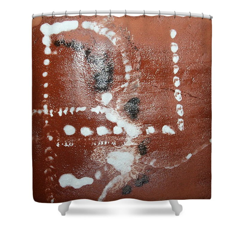 Jesus Shower Curtain featuring the ceramic art Bernard - Tile by Gloria Ssali