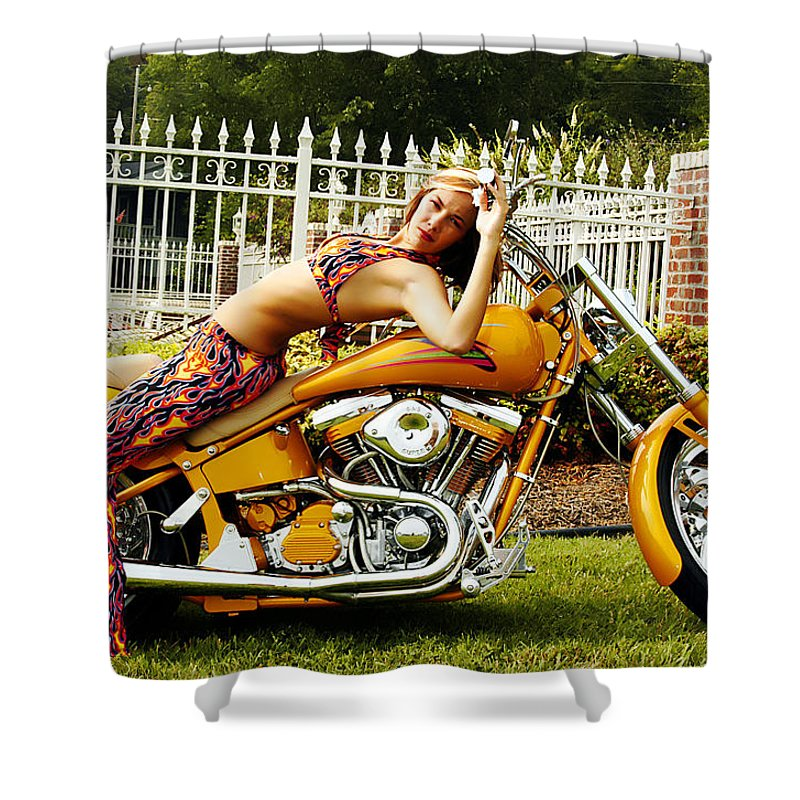 Clay Shower Curtain featuring the photograph Bikes And Babes by Clayton Bruster
