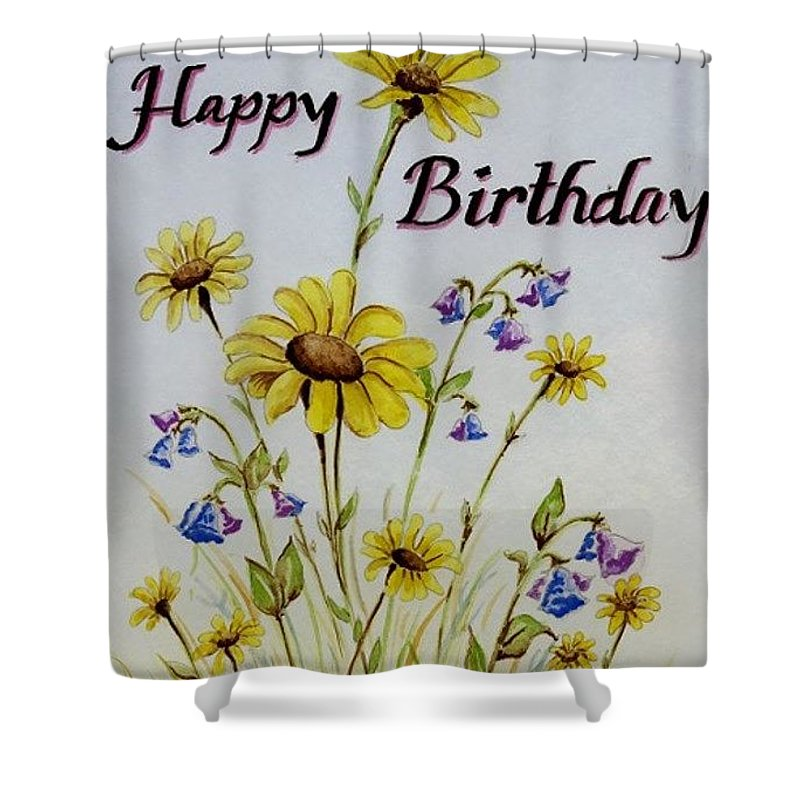 Card Shower Curtain featuring the painting Birthday Card by Jimmy Smith