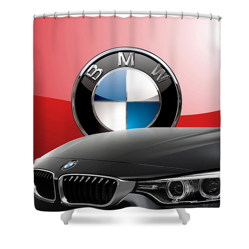 �auto Badges� Collection By Serge Averbukh Shower Curtain featuring the photograph Black B M W - Front Grill Ornament And 3 D Badge On Red by Serge Averbukh