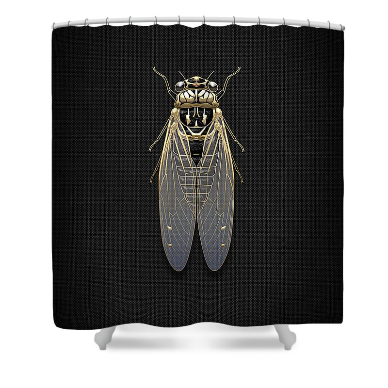 Beasts Creatures And Critters By Serge Averbukh Shower Curtain featuring the photograph Black Cicada With Gold Accents On Black Canvas 1 by Serge Averbukh