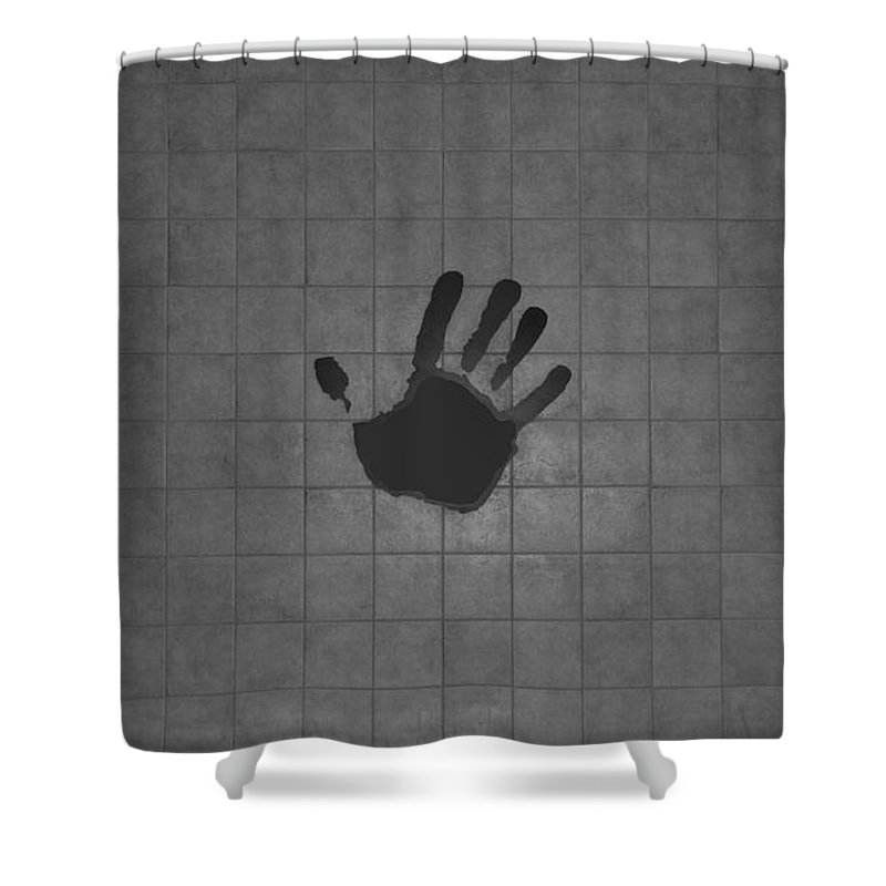 Hand Print Shower Curtain featuring the photograph Black Hand by Rob Hans