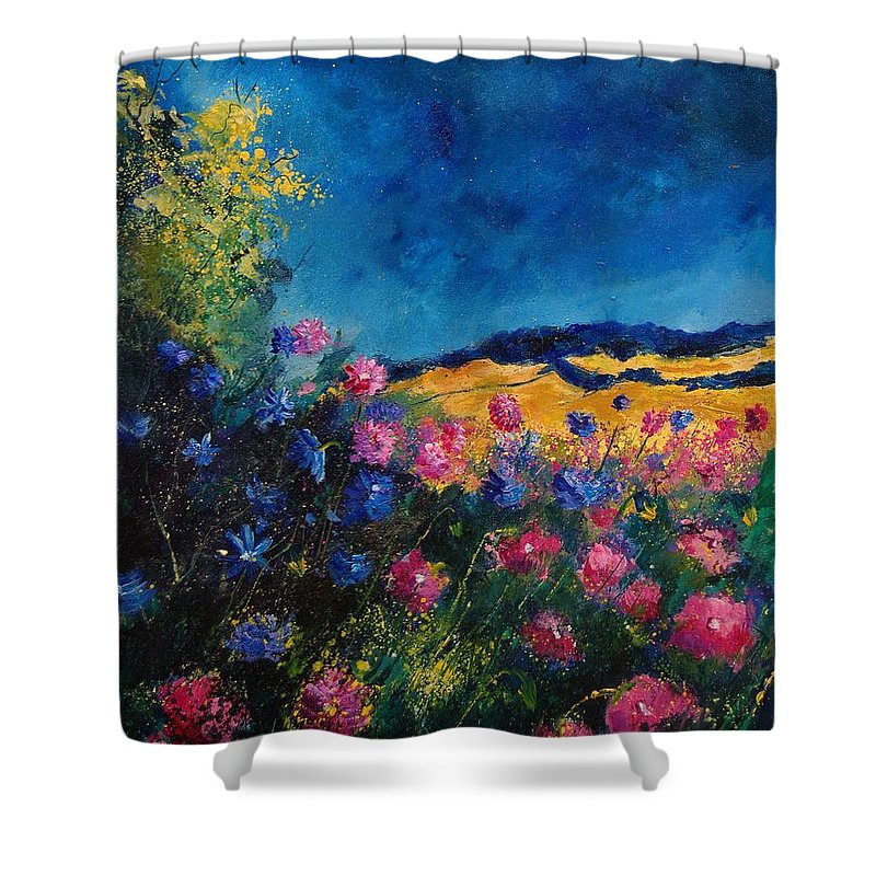 Flowers Shower Curtain featuring the painting Blue And Pink Flowers by Pol Ledent
