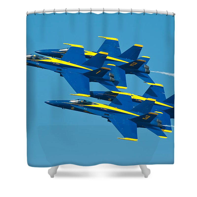 Us Navy Shower Curtain featuring the photograph Blue Angels by Sebastian Musial