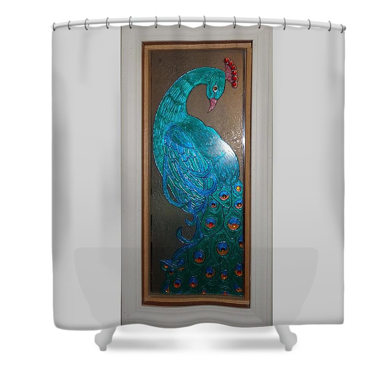 Stained Glass Shower Curtain featuring the glass art Blue by Barbara Smith