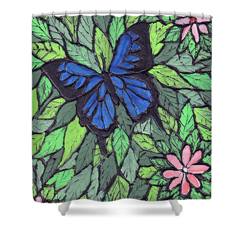 Butterfly Shower Curtain featuring the painting Blue Butterfly Two by Wayne Potrafka
