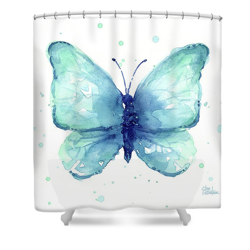Blue Shower Curtain Featuring The Painting Butterfly Watercolor By Olga Shvartsur