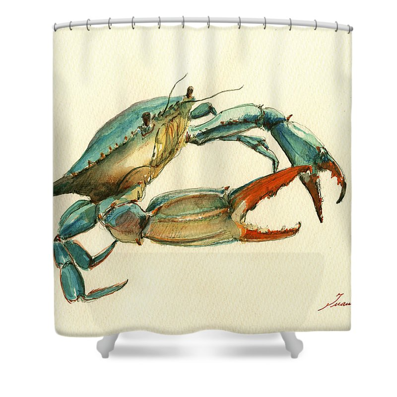 Blue Crab Shower Curtain Featuring The Painting By Juan Bosco