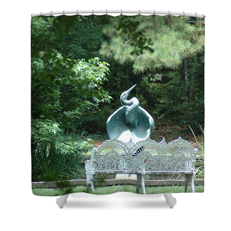Garden Shower Curtain featuring the photograph Blue Heron by Donna Bentley
