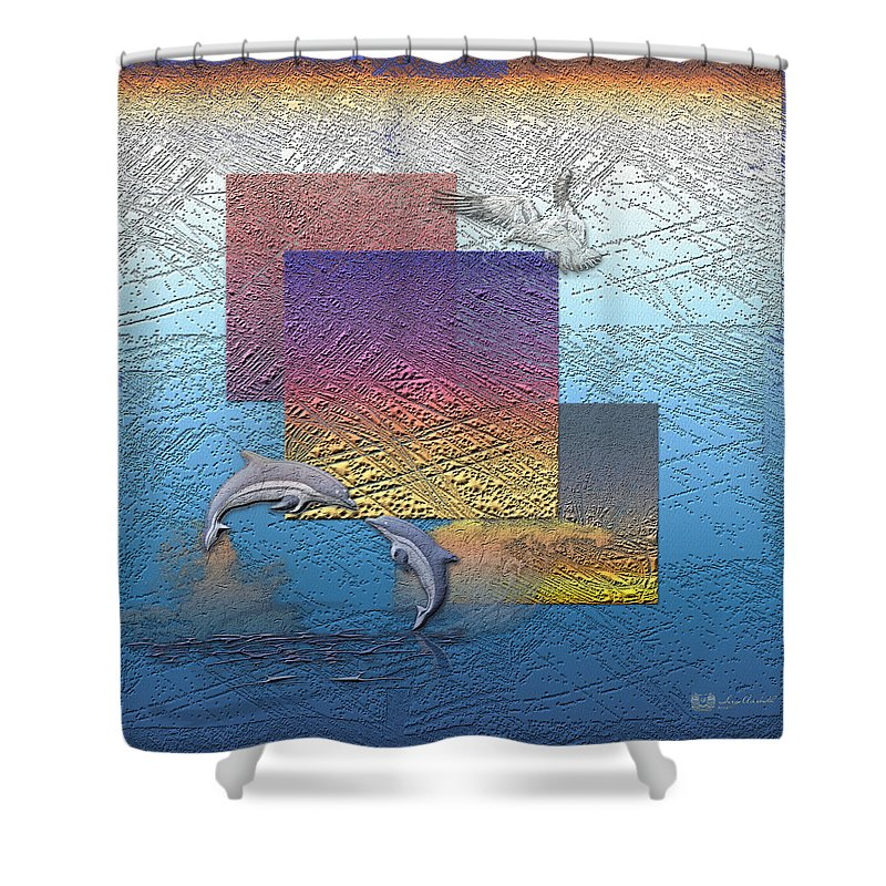 �from Dusk Till Dawn� Collection By Serge Averbukh Shower Curtain featuring the photograph Blue Lagoon Sunrise by Serge Averbukh