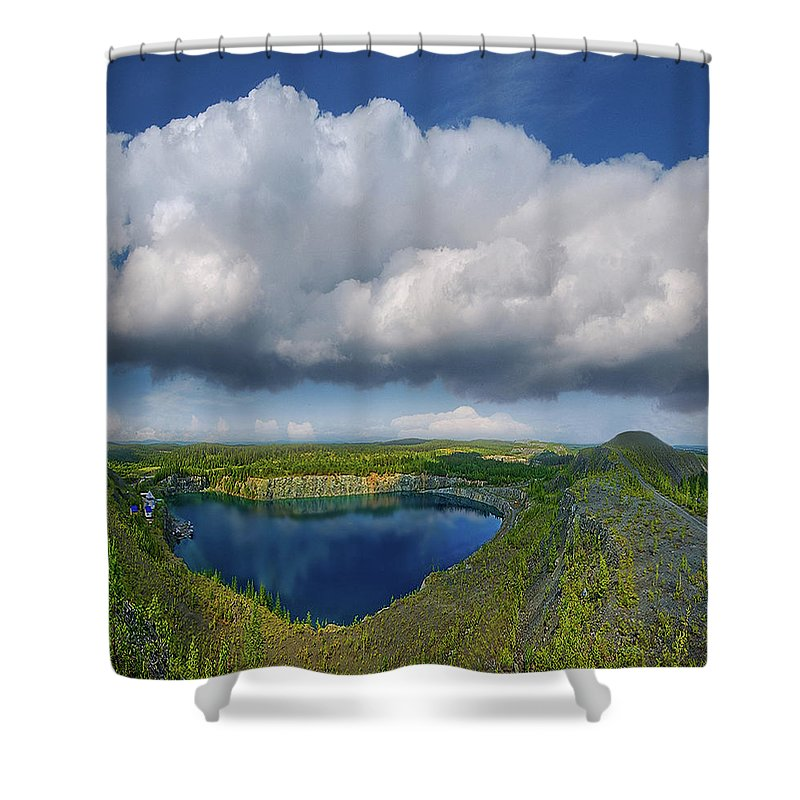 Landscape Shower Curtain featuring the photograph Blue Lake by Vladimir Kholostykh