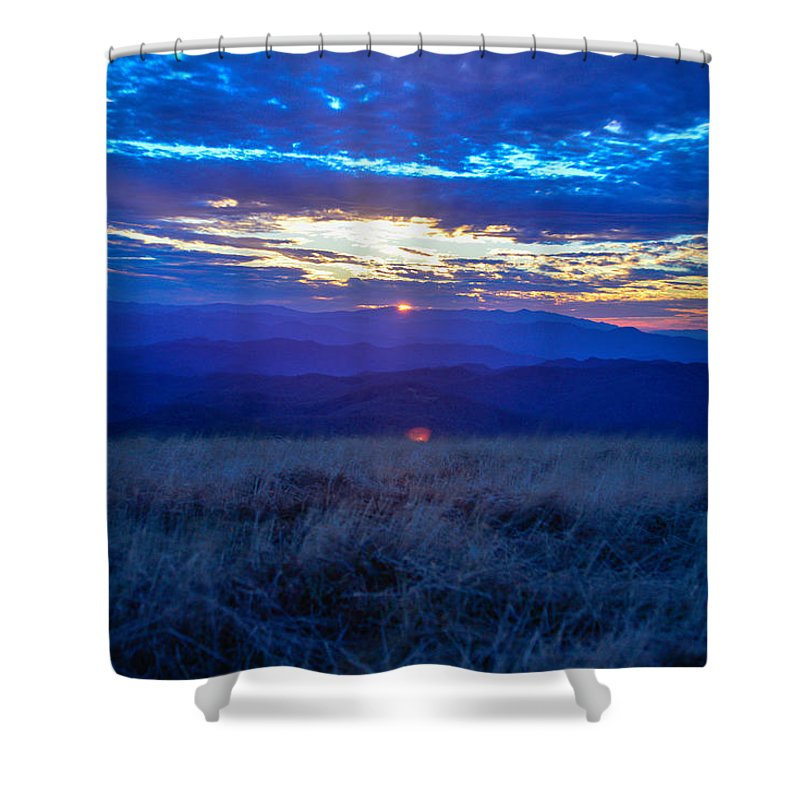 Blue Ridge Mountains Shower Curtain featuring the photograph Blue Ridge Sunset by Ryan Phillips