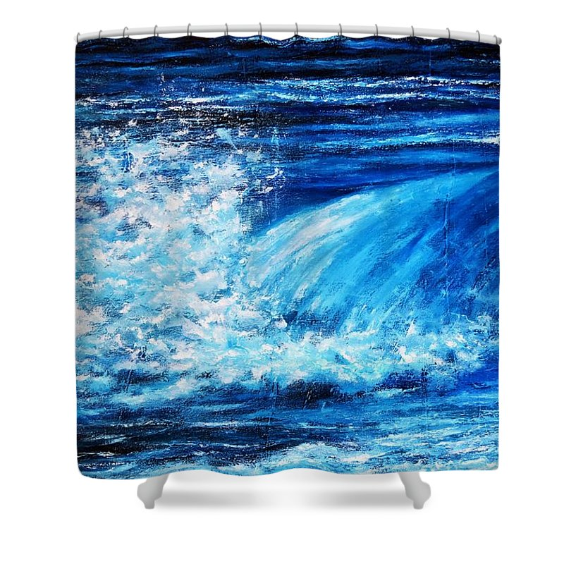 Painting Shower Curtain featuring the painting Blue Waves by Dimitra Papageorgiou
