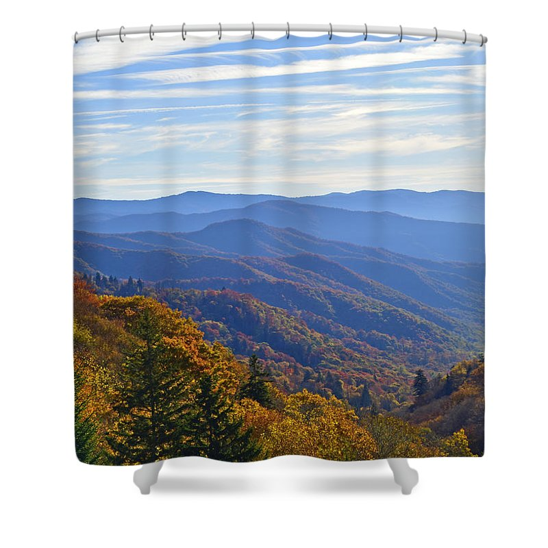 Ann Keisling Shower Curtain featuring the photograph Blue Ridge Parkway View by Ann Keisling