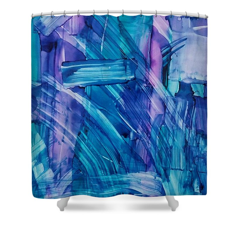 Alcohol Ink Abstract On Yupo Shower Curtain featuring the painting Blues by Donna Perry