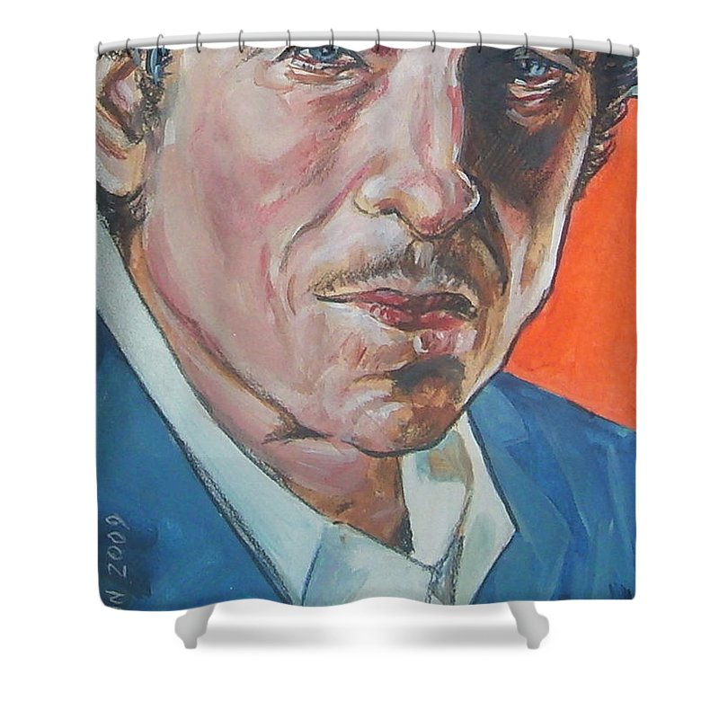 Bob Dylan Shower Curtain featuring the painting Bob Dylan by Bryan Bustard
