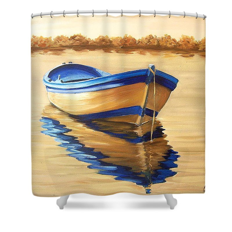 Still Life Shower Curtain featuring the painting Lake by Natalia Tejera