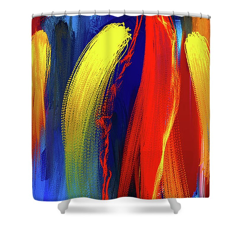 Bold Abstract Art Shower Curtain Featuring The Painting Be
