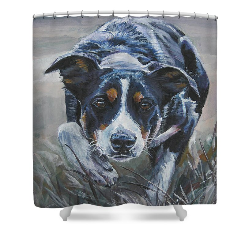 Border Collie Shower Curtain featuring the painting Border Collie by Lee Ann Shepard