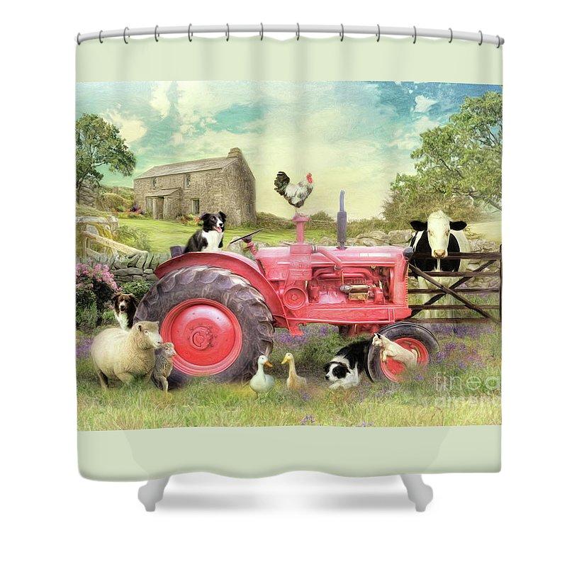 Border Collie Shower Curtain featuring the digital art Border Patrol by Trudi Simmonds