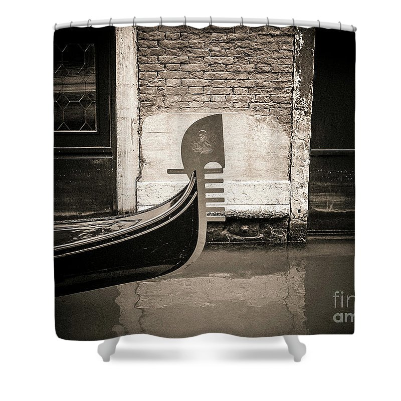Aged Shower Curtain featuring the photograph Bow Of A Gondola, Venice, Italy, Europe by Bernard Jaubert