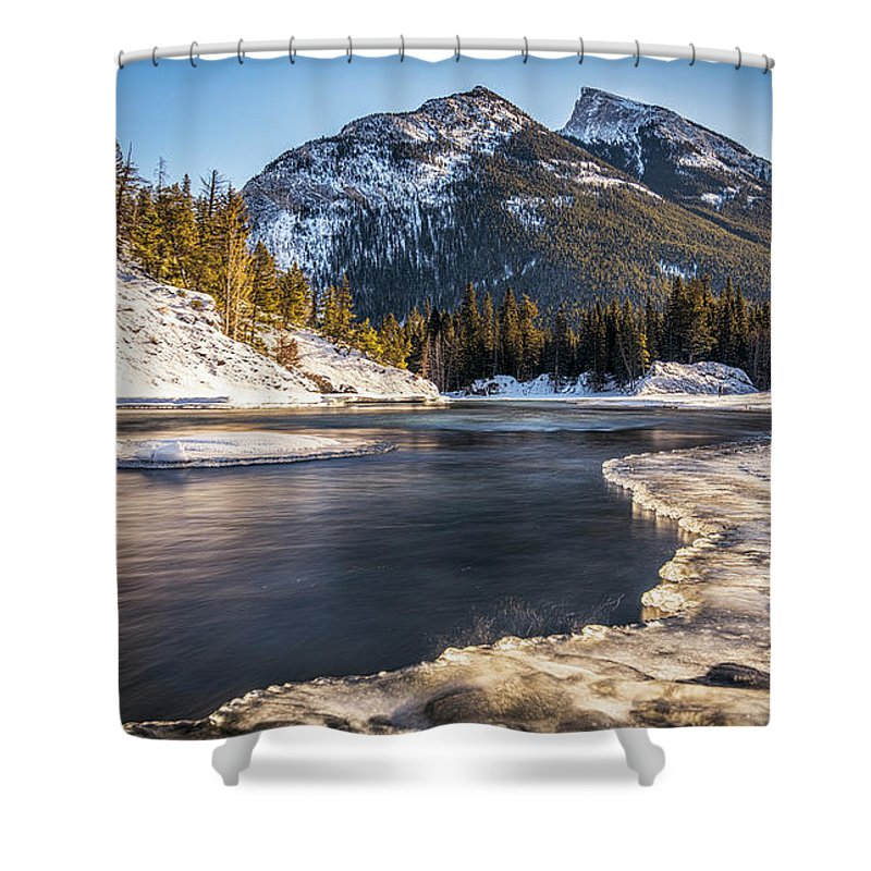 Sunrise Shower Curtain featuring the photograph Bow River With Mountain View Banf National Park by Yves Gagnon
