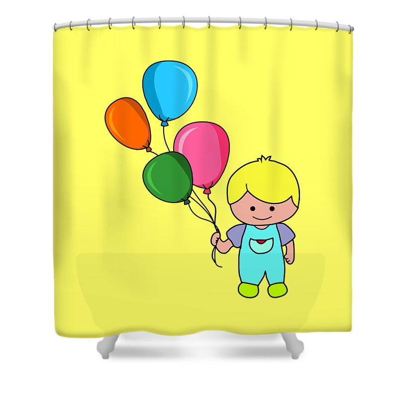 Kid Shower Curtain featuring the digital art Boy With Balloons by Mokile
