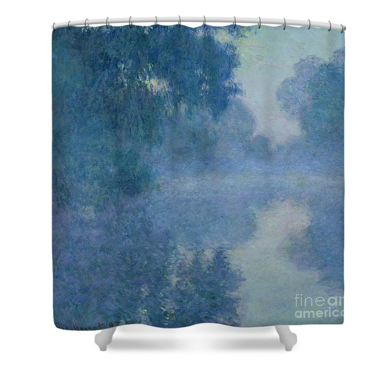 Impressionist; River; Reflection; Fog; Foggy; Misty; Mist; Branch; Seine; Giverny; Claude Monet; Monet; Tree; Trees Shower Curtain featuring the painting Branch Of The Seine Near Giverny by Claude Monet