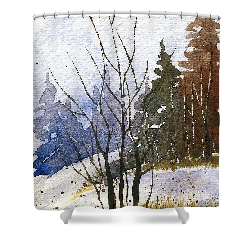 Snow Shower Curtain featuring the painting Branches by Tonya Doughty