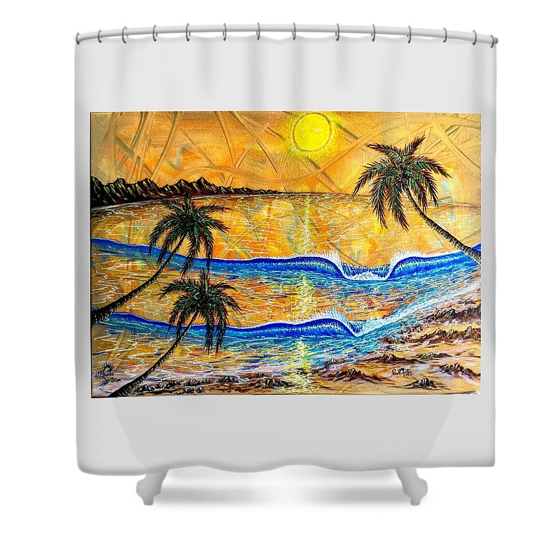 Sunset Shower Curtain featuring the painting Breathe In The Moment 1 by Paul Carter