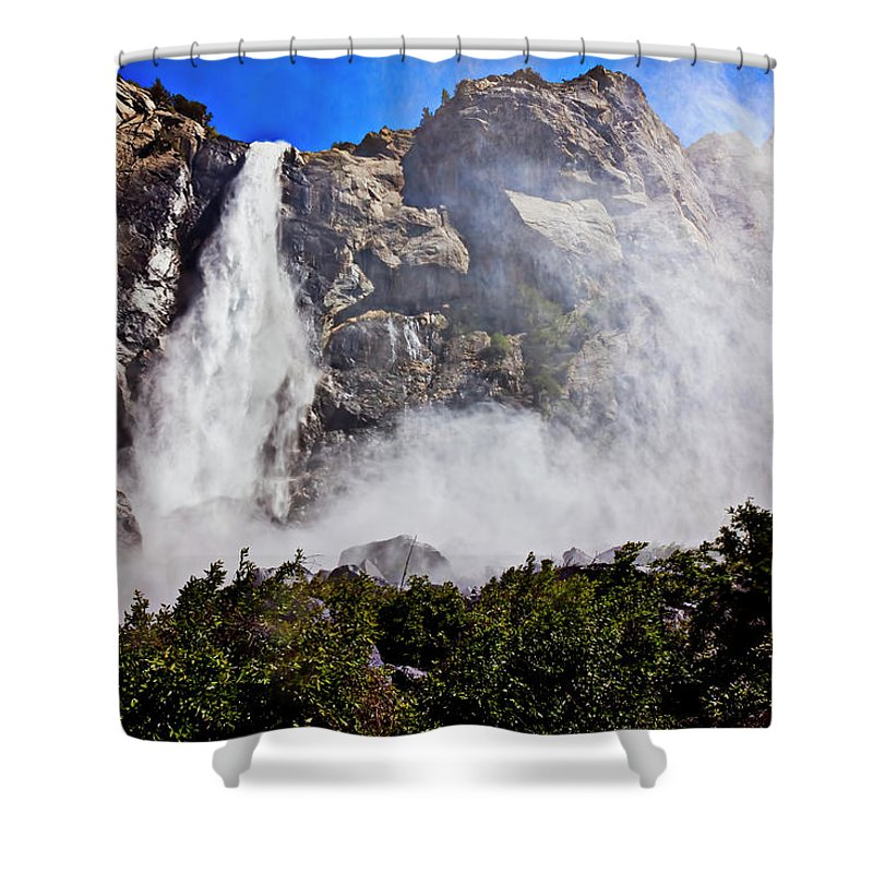 Upper Shower Curtain featuring the photograph Bridalveil Fall Yosemite Valley by Garry Gay