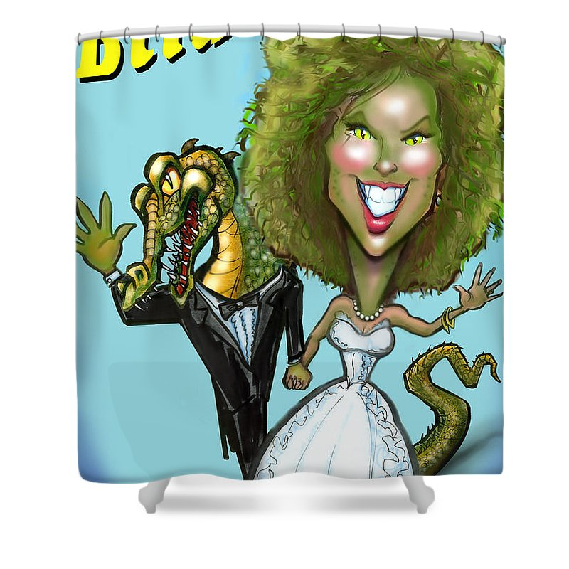Bridezilla Shower Curtain featuring the greeting card Bridezilla by Kevin Middleton