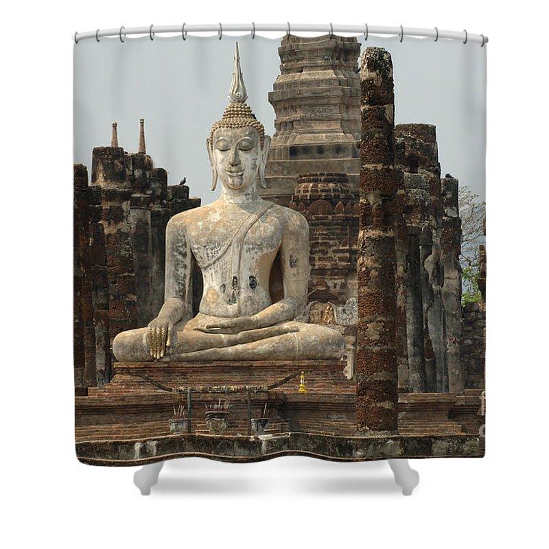 Sukhothai Shower Curtain featuring the photograph Buddha At Sukhothai by Bob Christopher