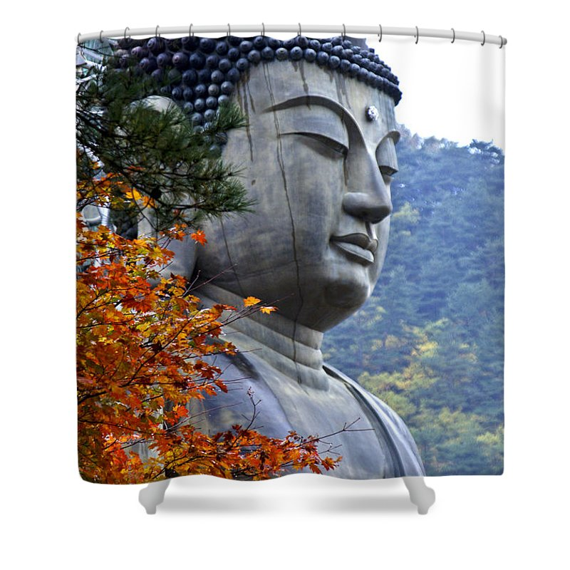 Buddha Shower Curtain featuring the photograph Buddha In Autumn by Michele Burgess