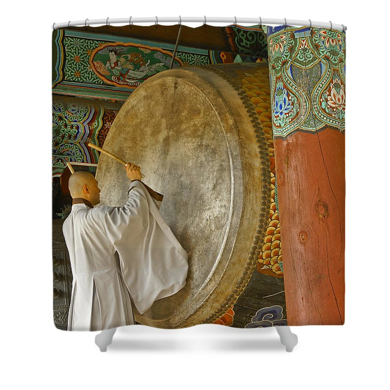 Asia Shower Curtain featuring the photograph Buddhist Monk Drumming by Michele Burgess
