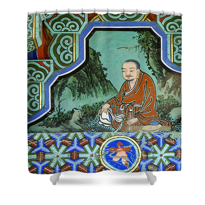 Buddha Shower Curtain featuring the photograph Buddhist Temple Art by Michele Burgess