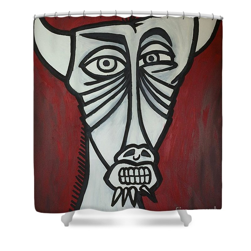 Clay Shower Curtain featuring the painting Bull by Thomas Valentine