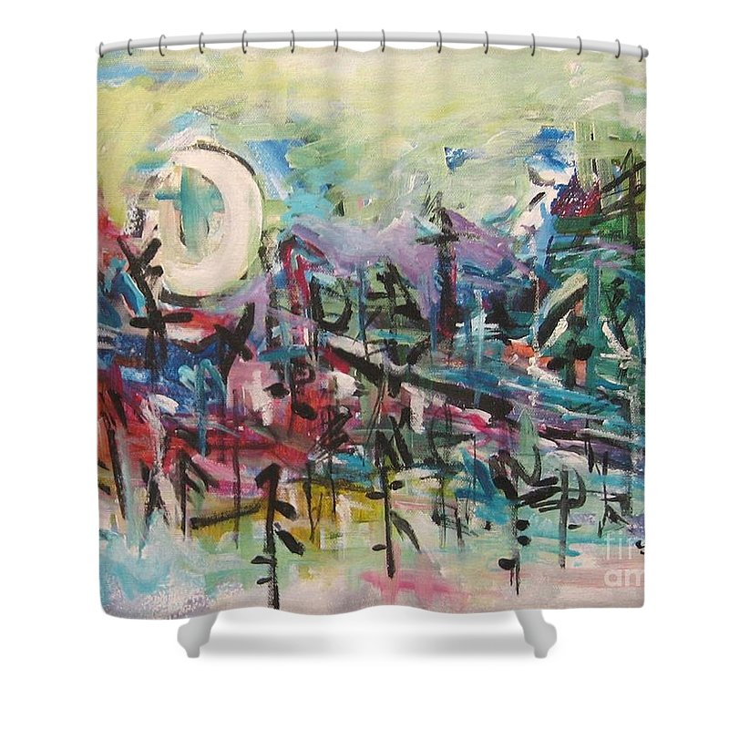 Abstract Paintings Shower Curtain featuring the painting Bummer Flat2 by Seon-Jeong Kim