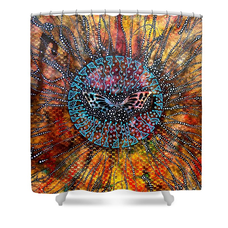 Butterfly Shower Curtain featuring the mixed media Butterfly by Alice Schwager