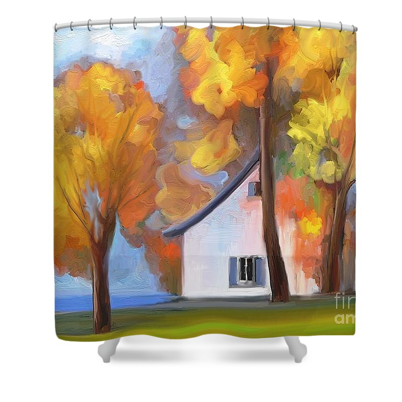 Paintography . Photopainting Shower Curtain featuring the painting By The River by Aline Halle-Gilbert