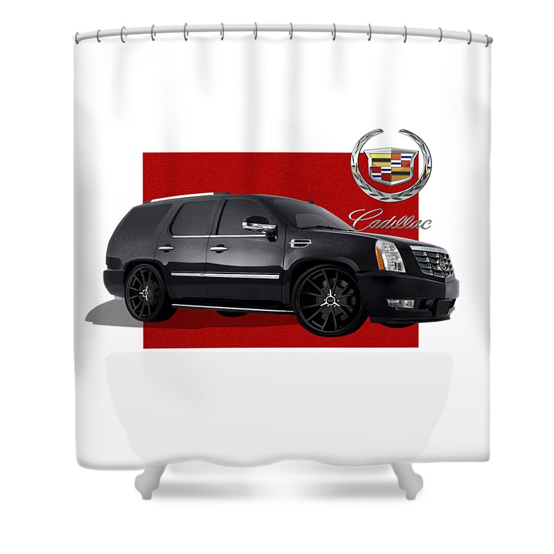 �cadillac� By Serge Averbukh Shower Curtain featuring the photograph Cadillac Escalade With 3 D Badge by Serge Averbukh