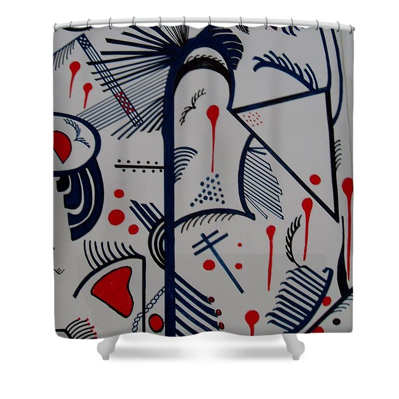 Blue Shower Curtain featuring the painting Caminos by Carol P Kingsley