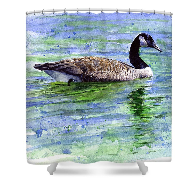 Bird Shower Curtain featuring the painting Canada Goose by John D Benson