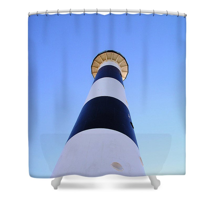 Cape; Canaveral; Light; Lighthouse; Lighthousekeeper; Keeper; Stairs; Kennedy; Space Center; Air For Shower Curtain featuring the photograph Canaveral Light by Allan Hughes